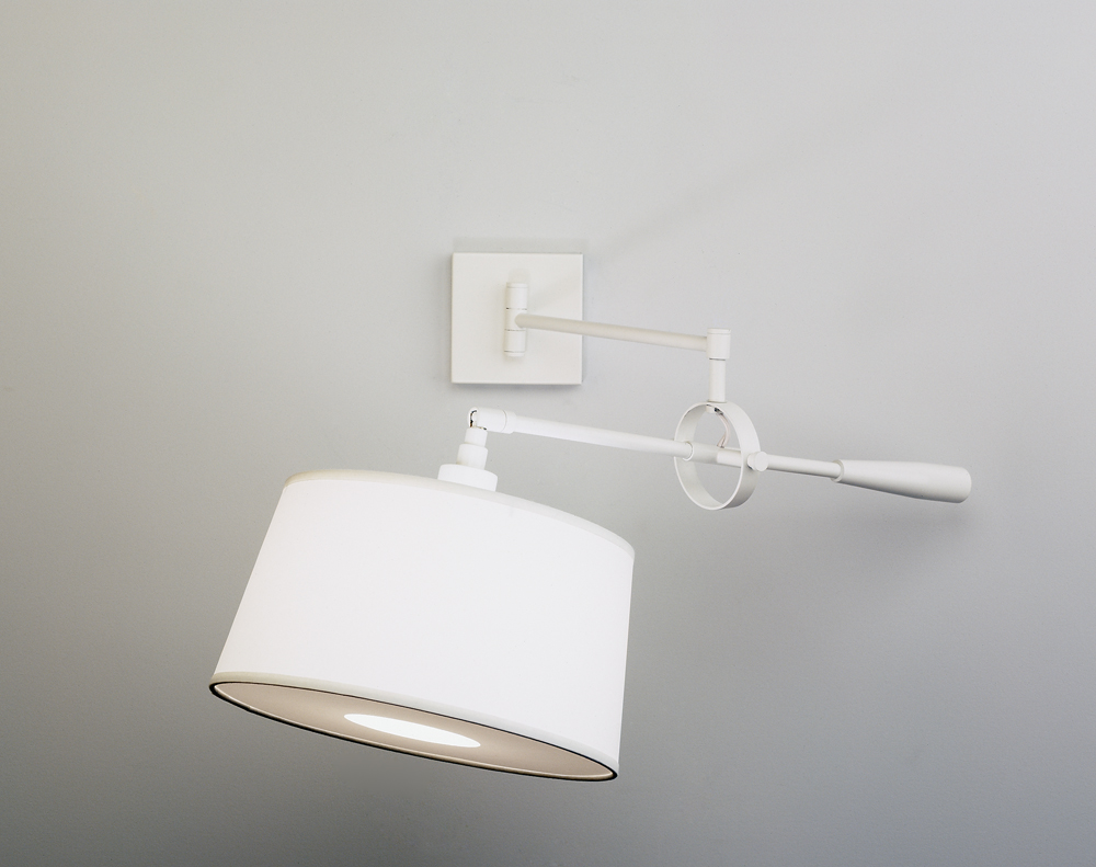 Robert Abbey (1809) Real Simple Wall Mounted Boom Lamp shown in Stardust White Powder Coat