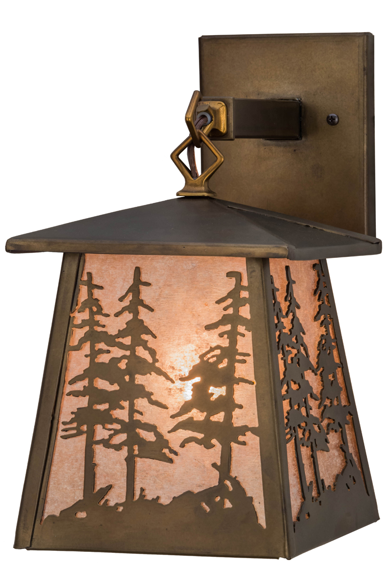 Rustic Cabin Wall Sconces : Meyda Tiffany (82114) 7.5 Inch Width Tall Pines Hanging Wall Sconce