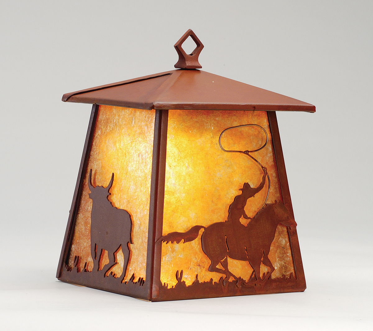 Rustic Cabin Wall Sconces : Meyda Tiffany (82663) 7.5 Inch Width Cowboy & Steer Hanging Wall Sconce