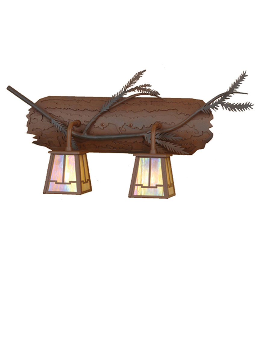 Rustic Cabin Wall Sconces : Meyda Tiffany (67909) 24 Inch Width Pine Branch Valley View 2 Light Vanity