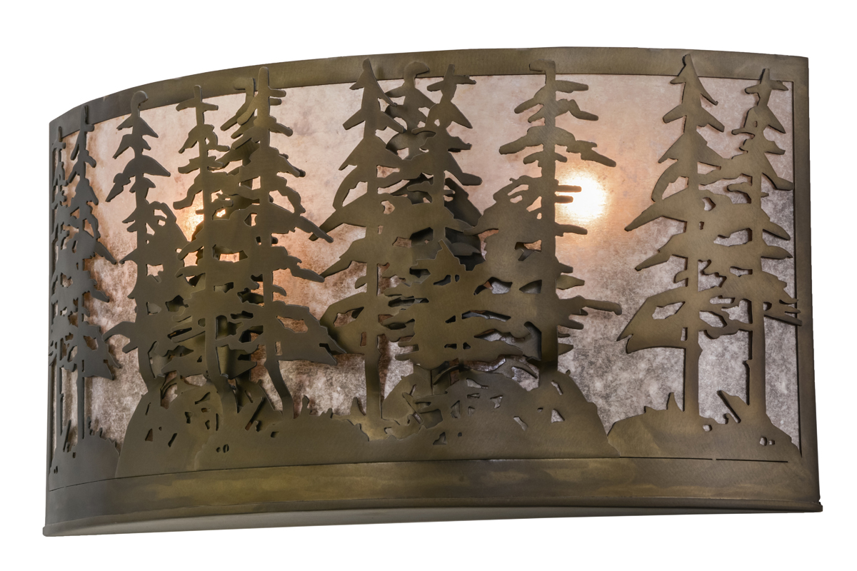 Rustic Cabin Wall Sconces : Meyda Tiffany (48082) 24 Inch Width Tall Pines Wall Sconce