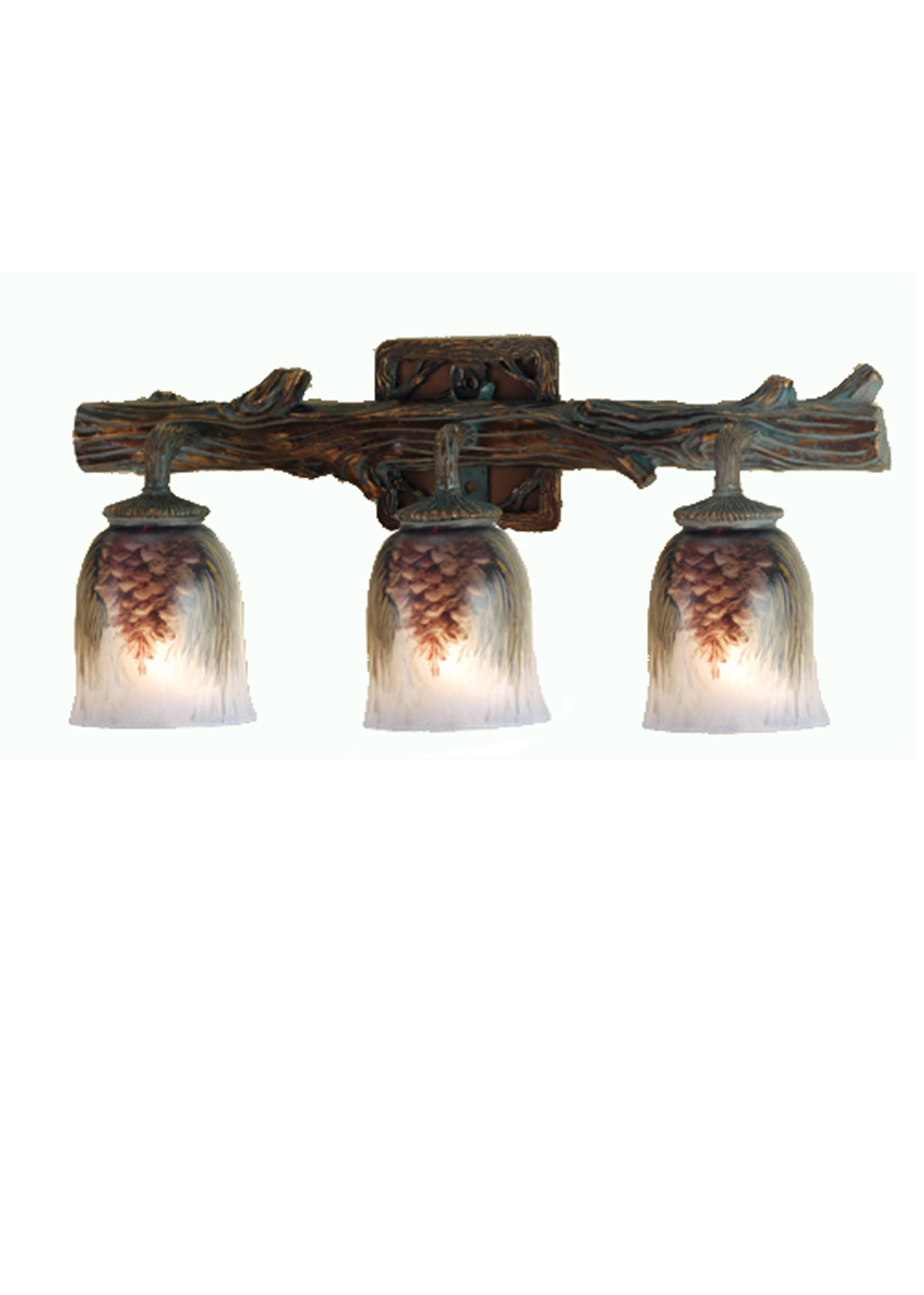 Rustic Cabin Wall Sconces : Meyda Tiffany (49525) 23 Inch Width Northwoods Pinecone 3 Light Hand Painted Vanity Light