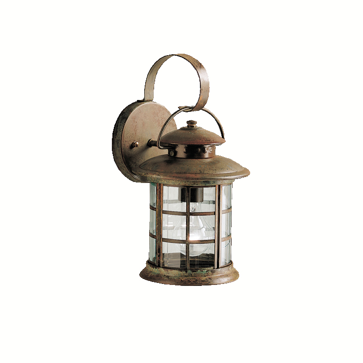 Lantern Wall Sconces Rustic : Kichler Lighting (9760RST) Rustic 1-Light Medium Outdoor Wall Sconce in Rustic