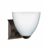 Sasha II 1 Light Wall Sconce Vanity shown in Bronze with Opal Matte Glass Shade by Besa Lighting
