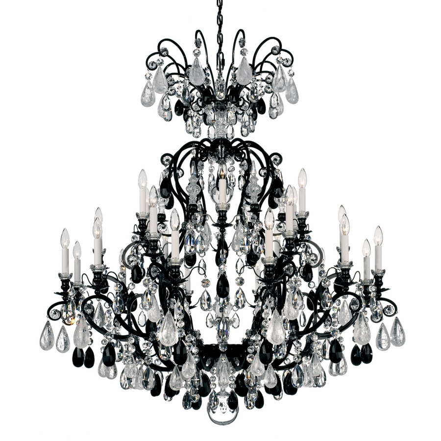 schonbek lighting renaissance rock crystal 24 light chandelier shown in wet black finish - Schonbek Lighting