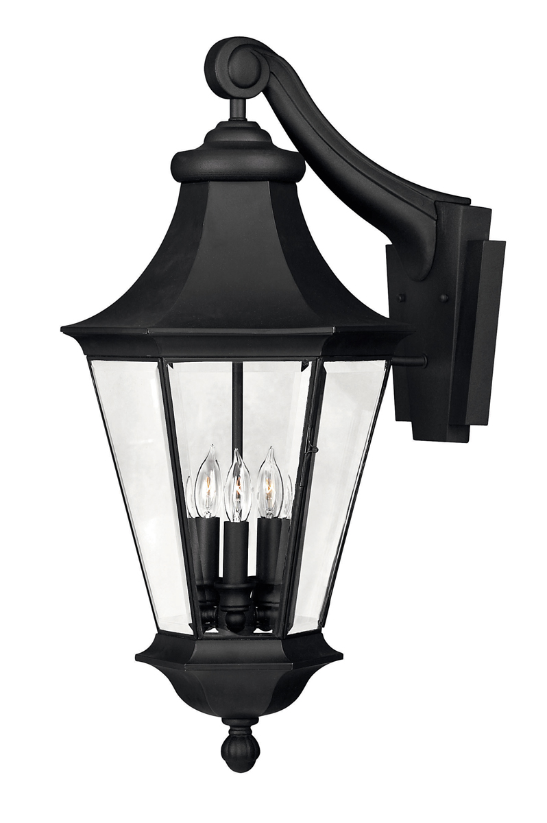 Outdoor Wall Sconces Black : Hinkley Lighting (2505BK) Senator Large Outdoor Wall Sconce in Black with Clear Bound & Beveled ...