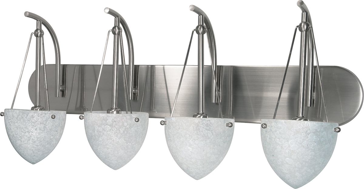 Beach Glass Vanity Light : Nuvo Lighting (60-137) South Beach 4 Light 30 inch Vanity with Water Spot Glass