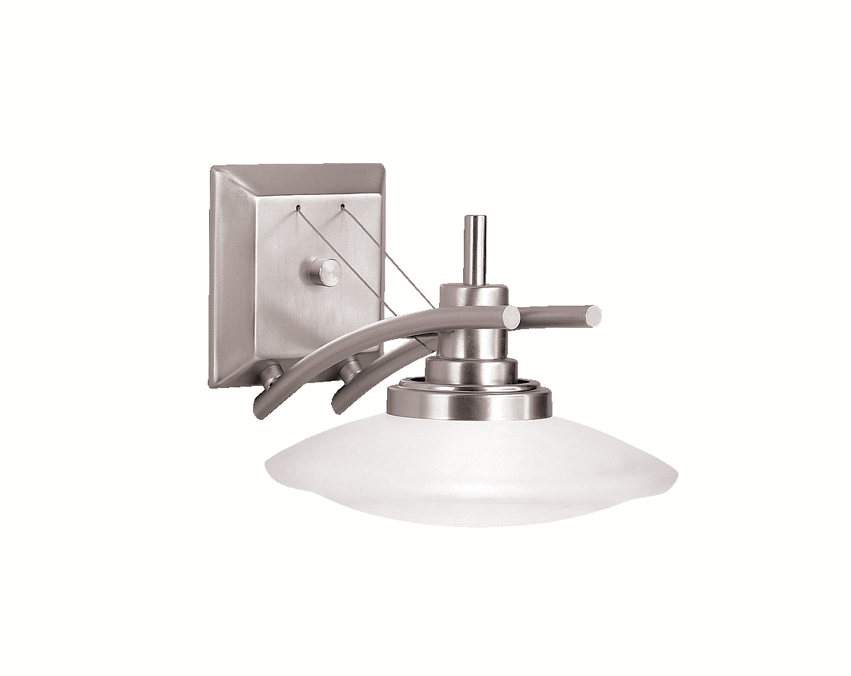 Halogen Bathroom Wall Sconces : Kichler Lighting (6963NI) Structures 1-Light Halogen Wall Sconce in Brushed Nickel