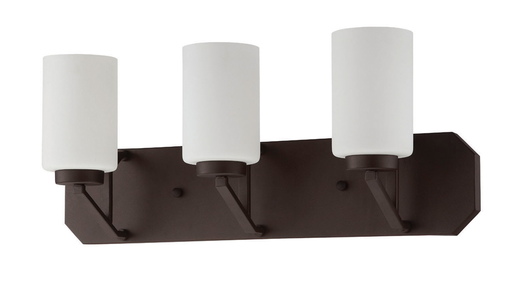 Sunset Lighting F12003 Axiom Blackened Bronze Three Light Vanity with Frosted Milk Glass