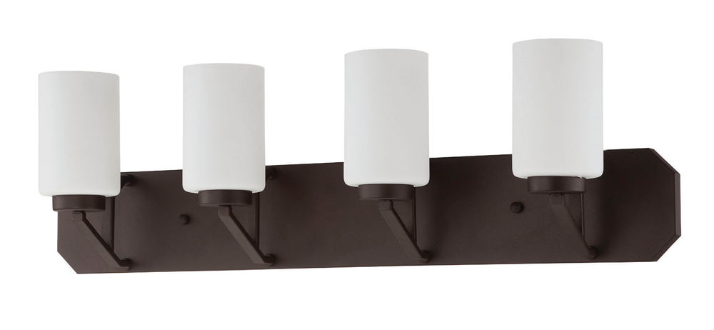Sunset Lighting F12004 Axiom Blackened Bronze Four Light Vanity with Frosted Milk Glass