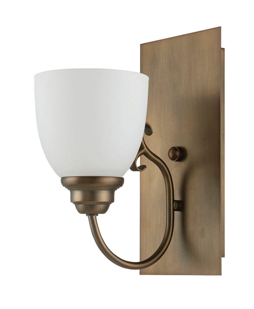 Wall Sconce Frosted Glass : Sunset Lighting F12021 Bistro Aged Brass One Light Wall Sconce with Frosted Milk Glass