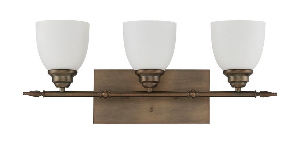 Vanity Light Milk Glass : Sunset Lighting F12023 Bistro Aged Brass Three Light Vanity with Frosted Milk Glass
