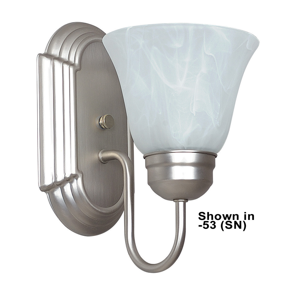 Sunset Lighting F3561 One Light Polished Chrome Wall Sconce with Faux Alabaster Glass