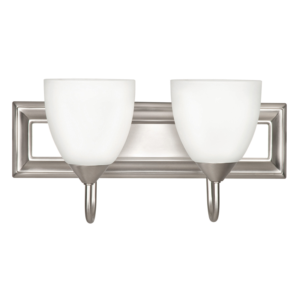 Vanity Light Milk Glass : Sunset Lighting F3632 Two Light Satin Nickel Wall Sconce with Round Milk Glass
