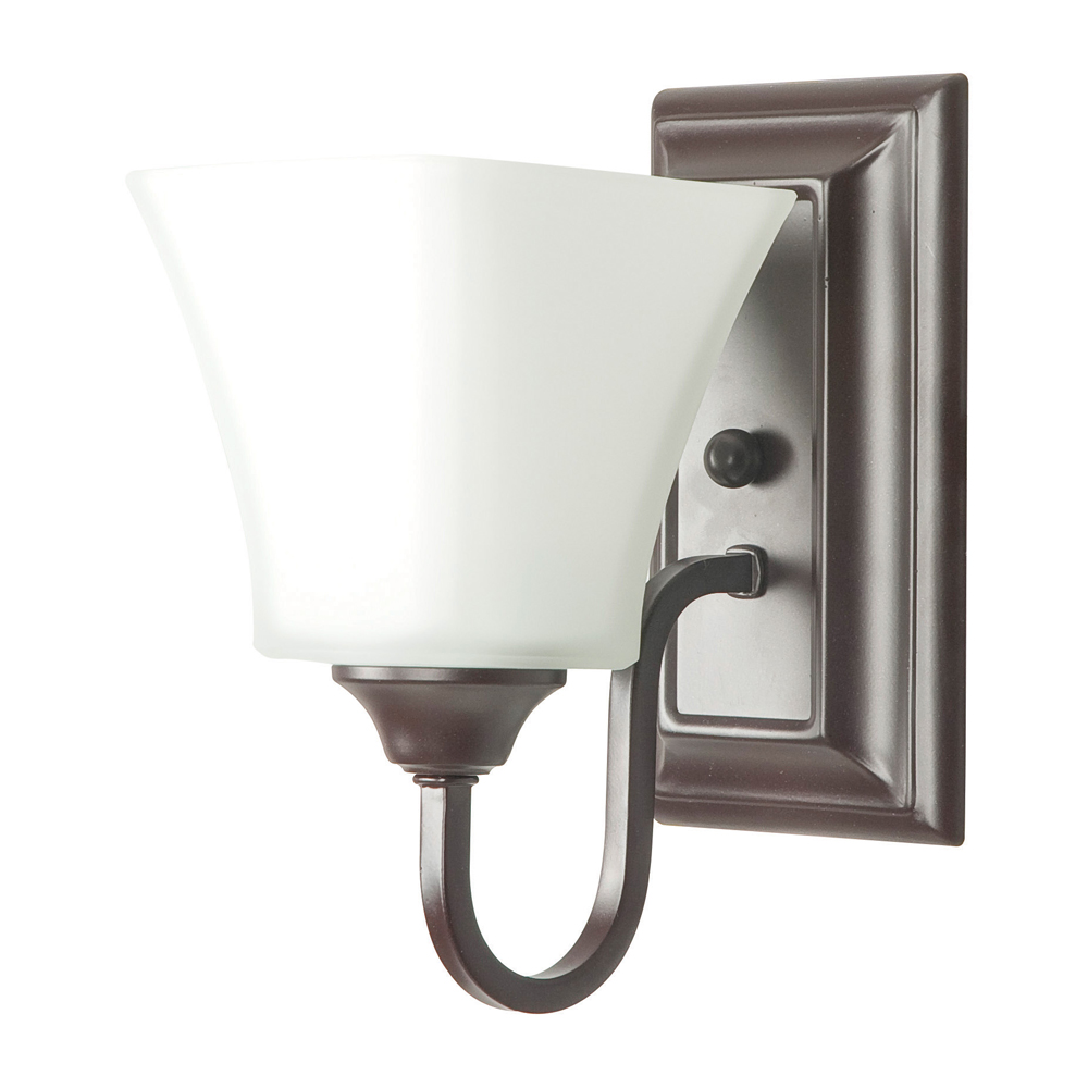 Sunset Lighting F3681 One Light Oil Bronze Wall Sconce with Square Milk Glass
