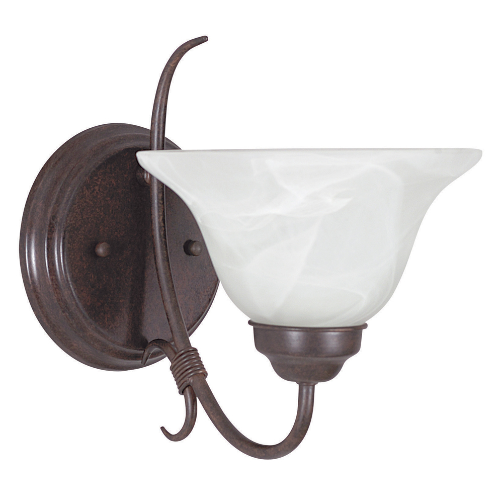 Sunset Lighting F6341 One Light Rubbed Bronze Madrid Wall Sconce with Faux Alabaster Glass