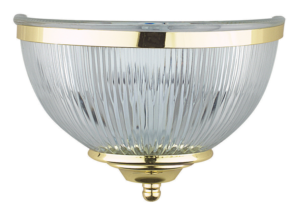Wall Sconce With Prismatic Glass : Sunset Lighting F9041 One Light Polished Brass Wall Sconce with Clear Prismatic Glass