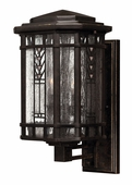 Hinkley Lighting (2240RB) Tahoe Medium Outdoor Wall Sconce in Regency Bronze with Clear Seedy Water Glass with Copper Foil Art Glass Accents