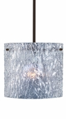 Tamburo 12 Pendant Flat Canopy Stem Fixture shown in Bronze with Clear Stone Glass Shade by Besa Lighting