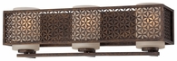 Metropolitan Lighting (N2723-258) Ajourer 3 Light Bath Bar shown in French Bronze with Scavo Glass