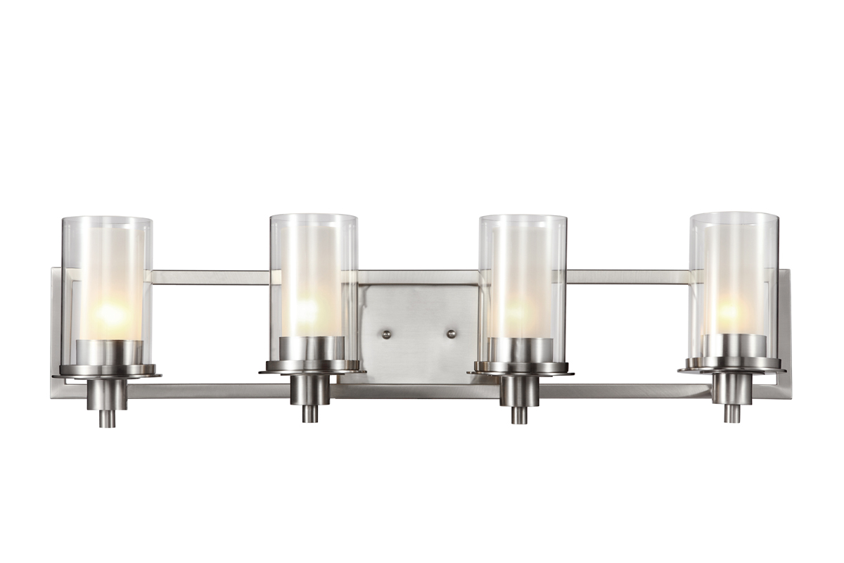 trans globe lighting 20044 nickel square 4 light bathroom vanity fixture shown in brushed nickel