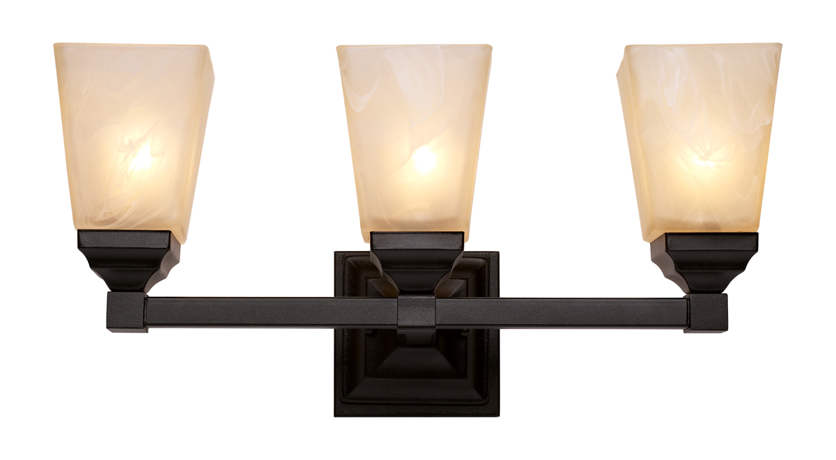 Trans Globe Lighting (20333) Mission Hall 3 Light Bathroom Vanity Fixture shown in Black