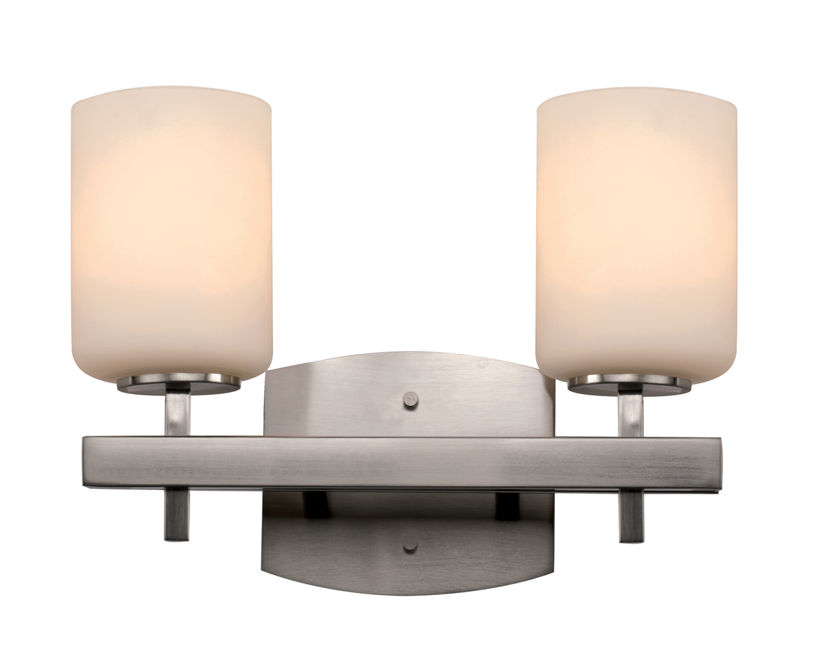 Trans Globe Lighting (20352) Ridge Rail 2 Light Bathroom Vanity Fixture shown in Brushed Nickel