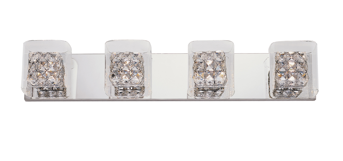 trans globe lighting mdn1117 block crystal 4 light bathroom vanity fixture shown in polished chrome - Trans Globe Lighting