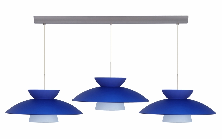 trilo 15 pendant 3 light bar cord fixture shown in bronze with blue matte glass shade - Besa Lighting