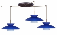 Trilo 15 Pendant 3 Light Large Round Cord Fixture shown in Bronze with Blue Matte Glass Shade by Besa Lighting