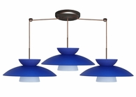 Trilo 15 Pendant 3 Light Linear Cord Fixture shown in Bronze with Blue Matte Glass Shade by Besa Lighting