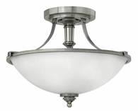 """Hinkley Lighting (4021AN) Truman 16"""" Semi-Flush Mount in Antique Nickel with Etched Opal Shade"""