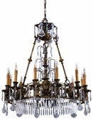 Metropolitan Lighting (N9067) Vintage 12 Light Chandelier shown in Oxide Brass with Bohemian Crystals