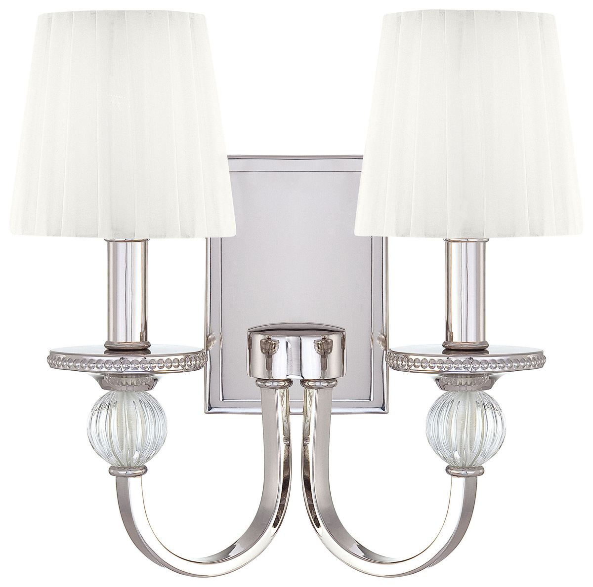Metropolitan Lighting (N2661-613) Aise 2 Light Wall Sconce shown in Polished Nickel with White ...