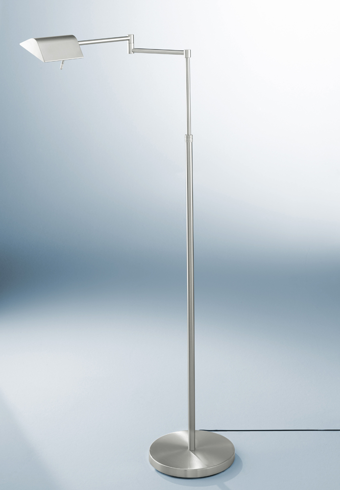 Wall Hugging Floor Lamp : Two-Tone LED Series Two-Tone LED Swing-Arm Floor Lamp With Two Independent Dimmers shown in ...