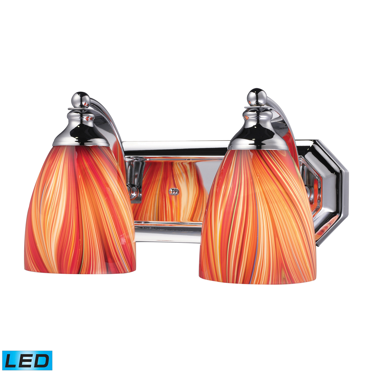 ELK Lighting (570-2C-M-LED) Vanity 2-Light LED Bathbar with Multi-colored Swirled Glass