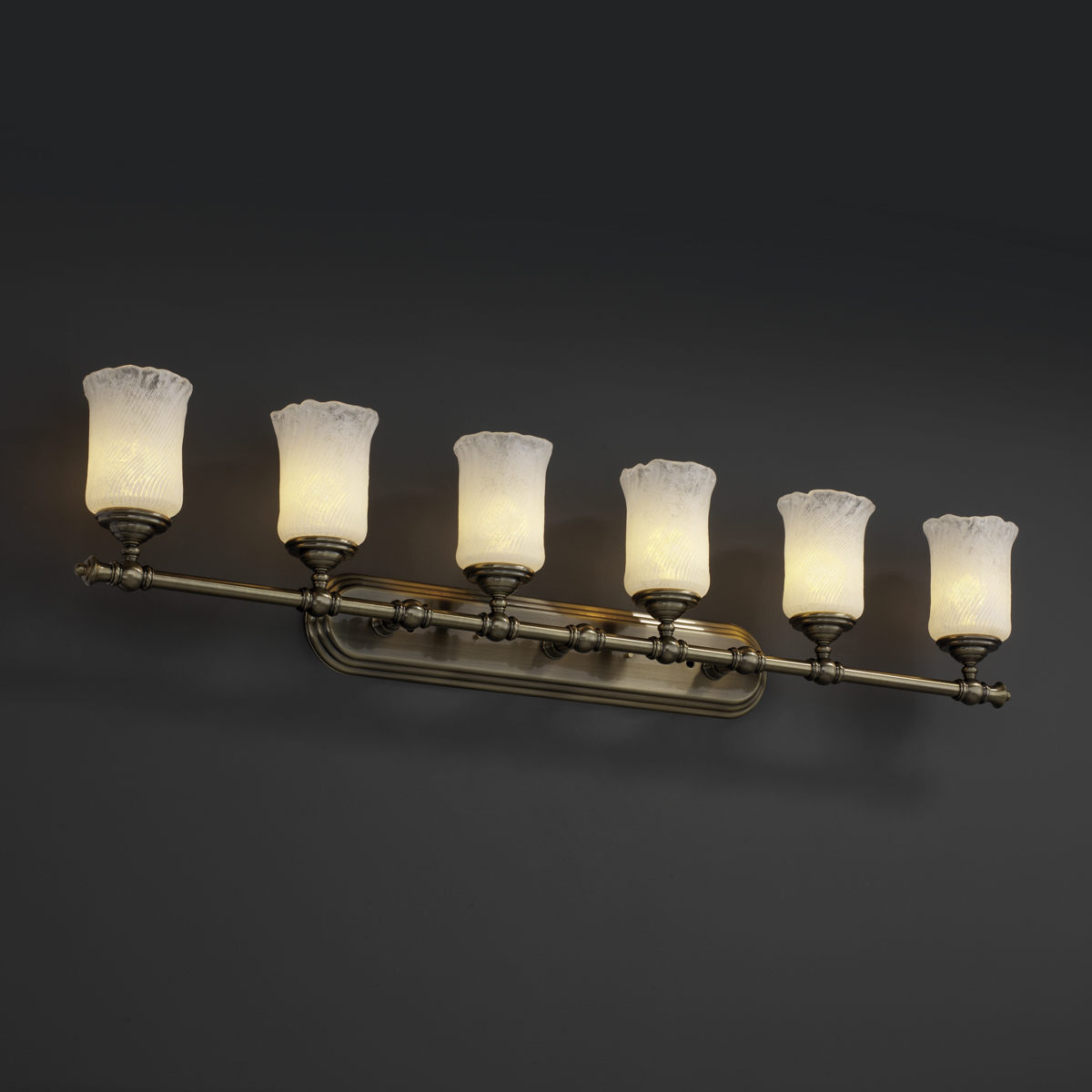 Vanity Light Bar Parts : Justice Design (GLA-8526) Tradition 6-Light Bath Bar from the Veneto Luce Collection