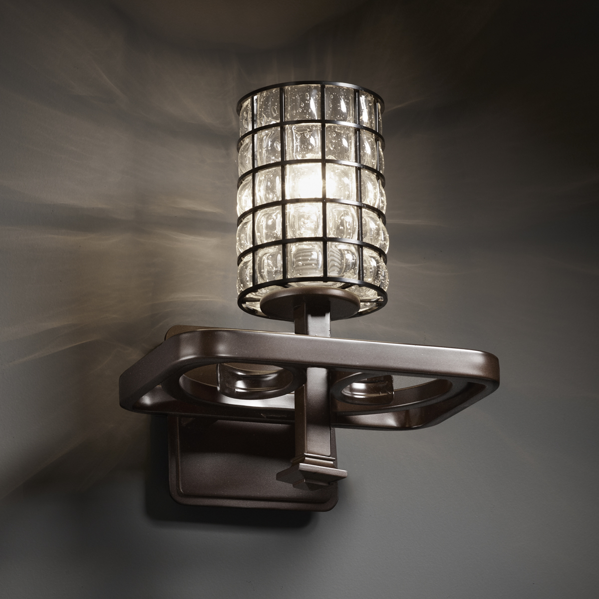 Wall Sconce With Wire : Justice Design (WGL-8561) Arcadia 1-Light Wall Sconce from the Wire Glass Collection