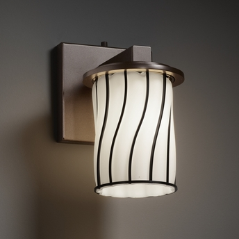 Justice Wall Sconces : Justice Design (WGL-8771) Dakota 1-Light Wall Sconce from the Wire Glass Collection