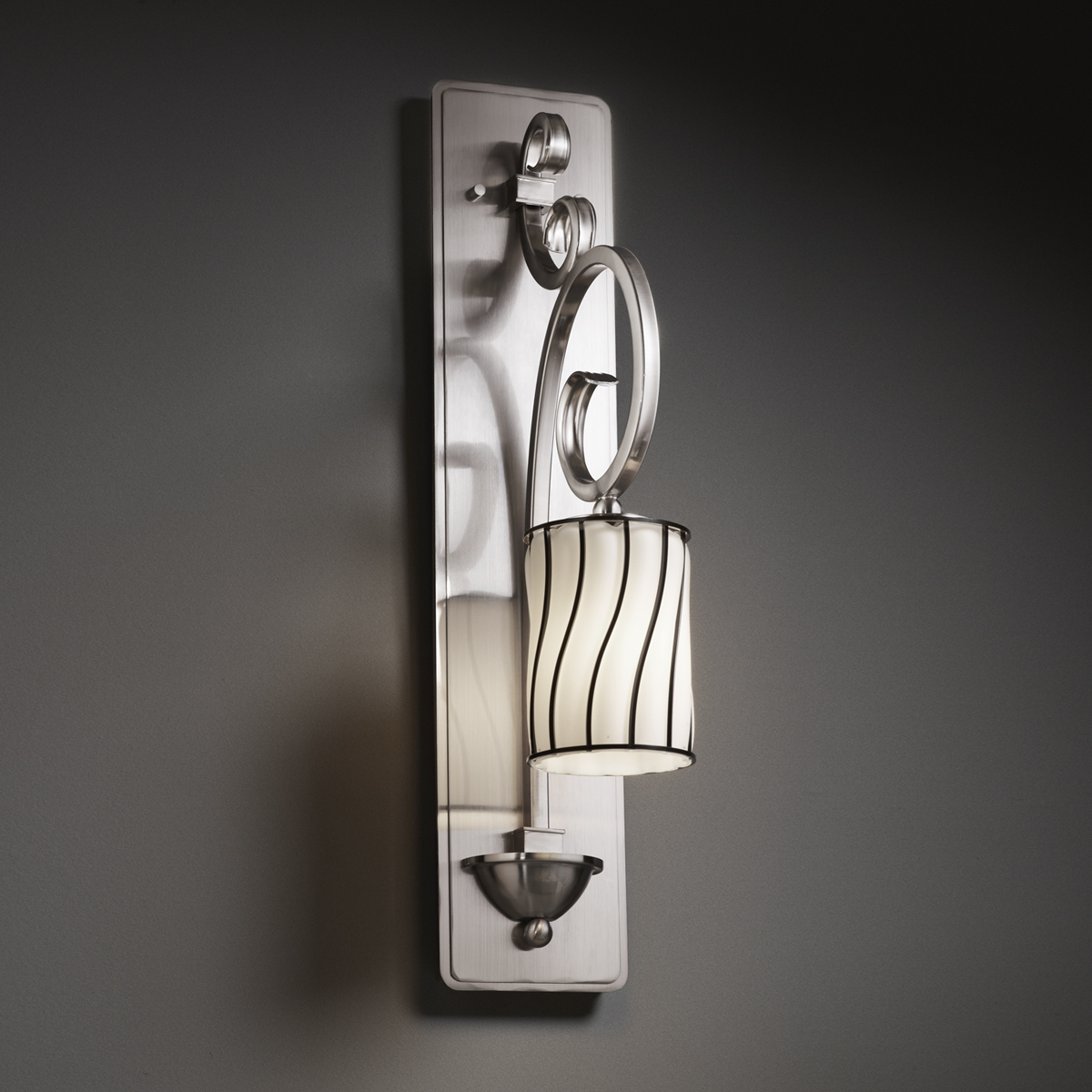 Tall Glass Wall Sconces : Justice Design (WGL-8579) Victoria 1-Light Wall Sconce (Tall) from the Wire Glass Collection