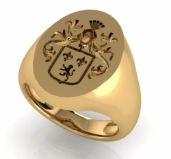 14K Gold Family Crest Ring