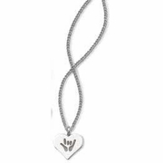 ILY Solid Heart Silver Necklace