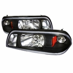 1PC Black Euro Headlights + Corner Lights