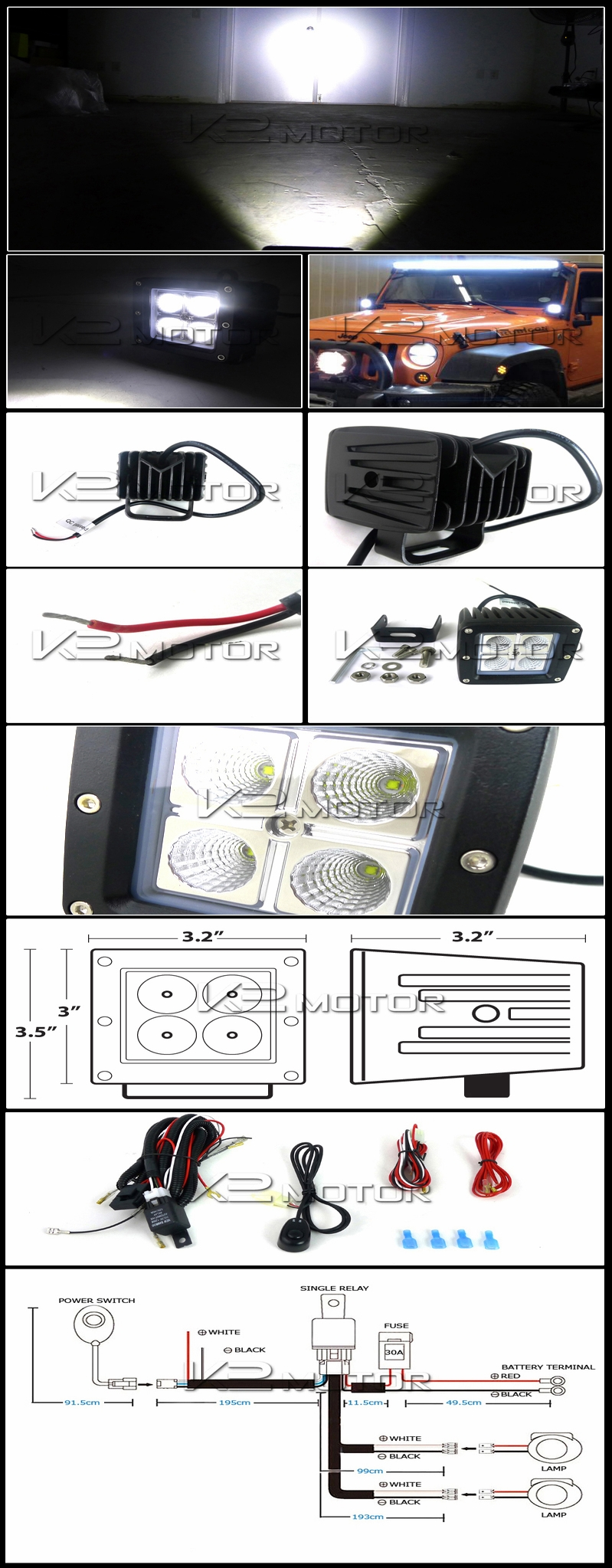 Universal 2PC 4-LED Cube Off-Road Fog Lights + Wiring Harness Switch Kit