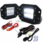 2PC 6-LED Spot Beam Off-Road Fog Lights + Wiring Harness Switch Kit