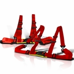 2PC Universal 4 Point Racing Seat Belt Harness (Red)