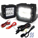 2PC Universal 6 LED Cube Spot Beam Work Fog Lamps + Wiring Harness