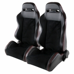 2X JDM T - R Style Racing Seats Red Stitches (Black)