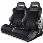 2X Red Stitch PVC Suede Racing Seats