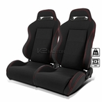 2X Red Stitched Black Reclinable Bucket Racing Seat